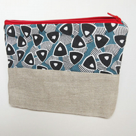 Make up bag, pouch bag, cosmetic bag. Eco bag, zip pouch,  FREE SHIPPING