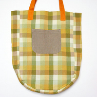 Recycled bag, eco bag, linen tote bag, sustainable, upcycled fabric.