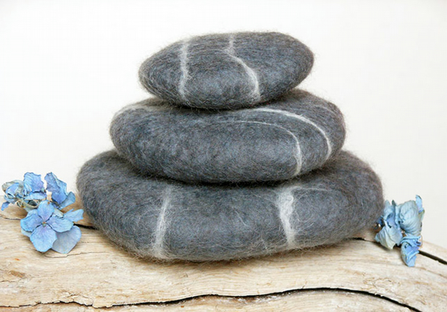 Unique gift, pure wool pebbles, home decor, ornament, eco gift, sustainable.