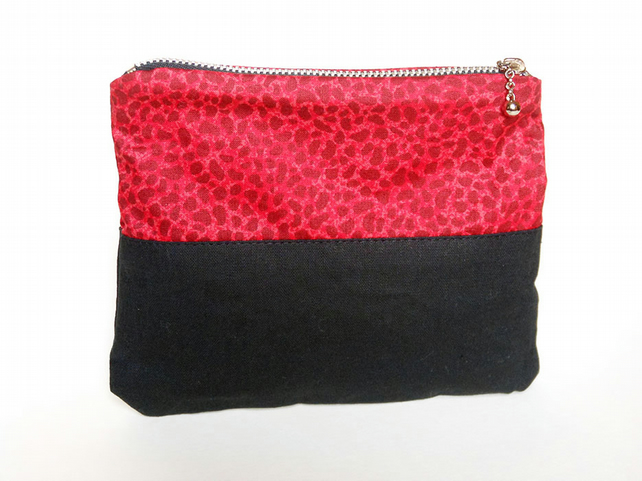 Upcycled bag, red make up bag, zip pouch, leopard bag, eco bag, eco gift.