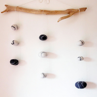 Mobile, home decor,hanging decoration, driftwood decoration, felted wool pebbles