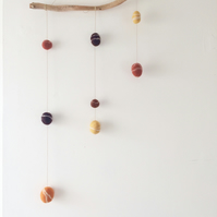 Hanging decoration, natural mobile, wool felt pebbles, driftwood decoration