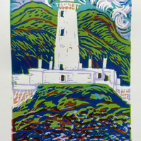 Lismore Lighthouse Scotland Original Limited Edition Reduction Linocut Print