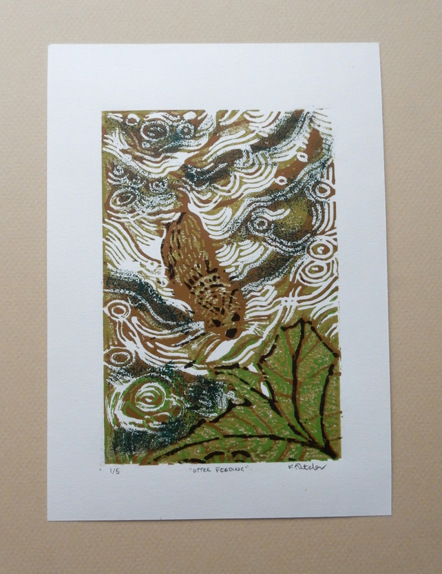 Otter Feeding Original Limited Edition Reduction Linocut Print