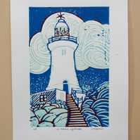La Corbiere Lighthouse Reduction Linocut Print Limited Edition 3 of 8
