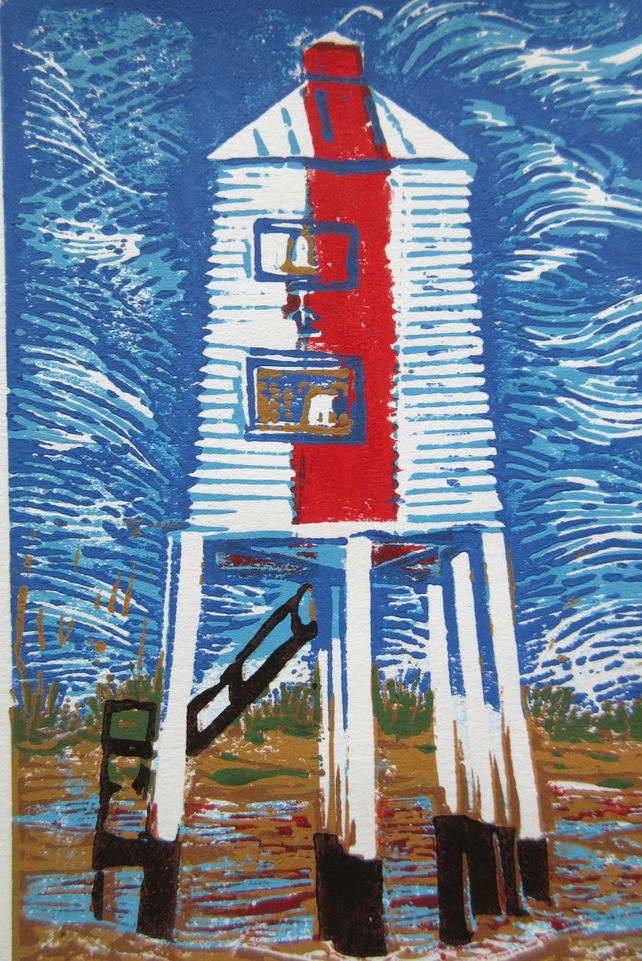 Burnham-On-Sea Low Lighthouse Original Limited Edition Reduction Linoprint