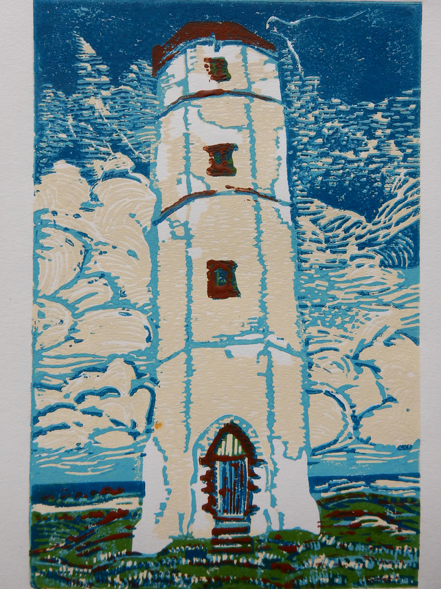 Old Flamborough Lighthouse Original Limited Edition Reduction Linoprint
