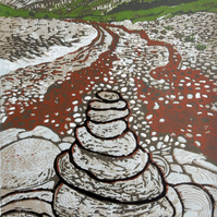 Cairn on Scottish Beach Original Hand Pressed Limited Edition Linocut Print
