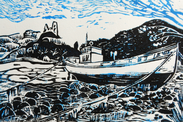Kyleakin, Island of Skye Original Hand Pressed Linocut Print Limited Edition