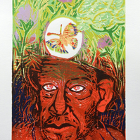 Meadowhead - Miner and Wildflowers Original Linocut Reduction Print