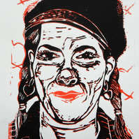 Portrait of Tracey Emin Original Hand Pressed Linocut Print Limited Edition