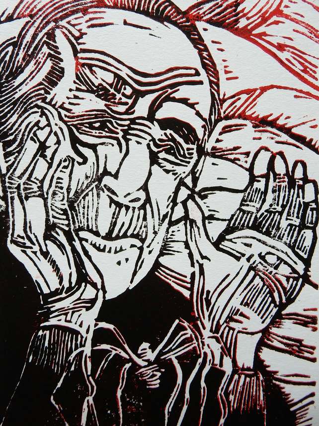 Portrait of Louise Bourgeois Original Hand Pressed Linocut Print Limited Edition