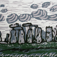Stonehenge, Wiltshire Original Hand Pressed Reduction Linocut Print