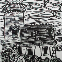 Belle Tout Lighthouse, East Sussex Original Hand Pressed Linocut Print