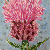 Thistle - Mini Painting and Easel - Original Acrylic Painting on Canvas