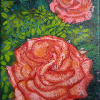 Rose - Acrylic Painting on Canvas 5 inches x 6.7 inches