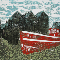 Hastings Net Shops, East Sussex - Original Hand Pressed Limited Edition Linocut