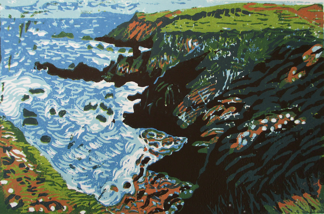 Mutton Cove, Cornwall - Original Hand Pressed Linocut Print on Paper Ltd Edition