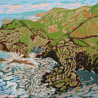 Barras Nose and Tintagel Haven - Original Hand Pressed Linocut Print on Paper