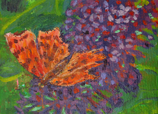 Butterfly - Mini Painting and Easel - Original Acrylic Painting on Canvas