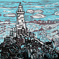 La Corbiere Lighthouse, Jersey - Original Hand Pressed Linocut Print Ltd Edition