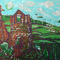 Cornish Tin Mine - Original Hand Pressed Linocut Print on Paper Ltd Edition