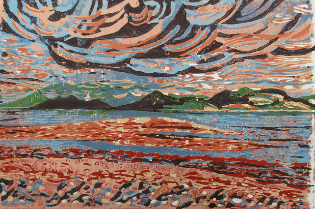 Isle of Arran from Skipness - Original Hand Pressed Reduction Linocut Ltd Ed