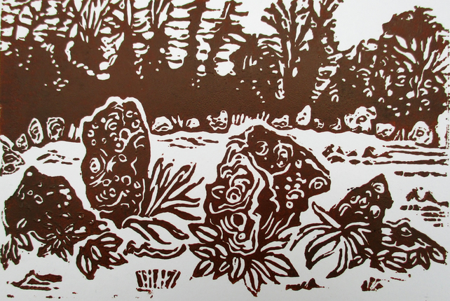 Rollright Stones, Cotswolds Original Hand Pressed Linocut Print Ltd Edition