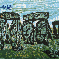 Stonehenge World Heritage Site - Original Hand Pressed Linocut Print Ltd Edition
