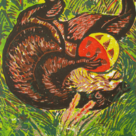 Otter Playing - Original Hand Pressed Linocut Print Ltd Edition