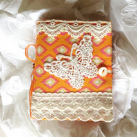 One-of-a-kind handmade fabric and lace needle case