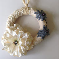 Lacy wedding wreath hanging decoration with silk flower
