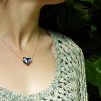 Porcelain Wolf necklace on sterling silver