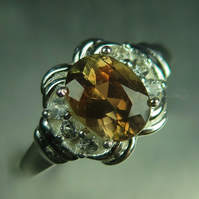 1.40cts Natural Bi-colour Andalusite & topaz 925 sterling silver ring