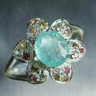 0.75cts Natural Paraiba blue elbaite Tourmaline & sapphires Sterling silver ring