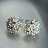 Natural green blue Alexandrite & sapphire studs Sterling 925 Silver earrings