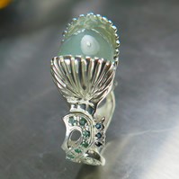 9.6cts Natural Cat's eye Aquamarine &Alexandrites, sapphires 925 Silver ring