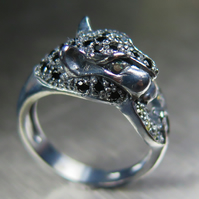 Natural Black spinel, Alexandrites, sapphires Oxidized Sterling 925 Silver ring