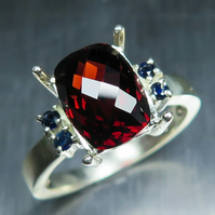 4.80ct Natural Garnet Spessartines &sapphires 925 sterling silver ring all sizes