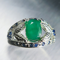 1.15cts Natural Zambian Emeralds & sapphires Sterling 925 silver ring all sizes