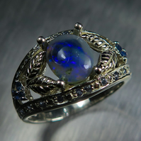 Natural Australian semi black opal &sapphires Sterling 925 silver ring all sizes