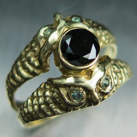 Certified Natural Black diamond &alexandrites 9ct 375 Yellow gold ring all sizes
