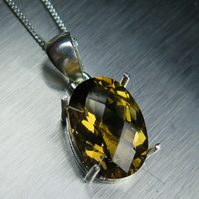5.85ct Natural Citrine, antique yellow gold colour 925 sterling silver pendant