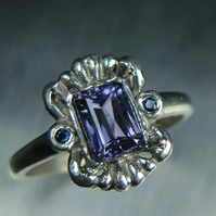 1.10ct Natural purple Spinel &blue sapphires Sterling 925 silver engagement ring