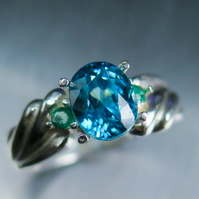 2.20cts Natural Cambodian zircon vivid paraiba blue 9ct 375 white gold ring