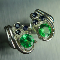 Natural Vivid green Tsavorite garnet &sapphire 925 sterling Silver earrings