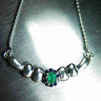 Natural Colombian Emerald oval cut & blue sapphires 925 silver necklace pendant