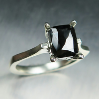 1.4ct Black Diamond Cushion Rose Cut 9ct 375 white gold engagement ring