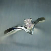 Natural Argyle pink diamond pear cut 9ct 9k 375 white gold engagement ring