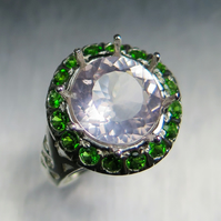 2.95ct Natural rose pink quartz &Chrome diopside STERLING 925 SILVER RING